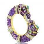 Amethyst, emerald and diamond bangle bracelet by David Webb