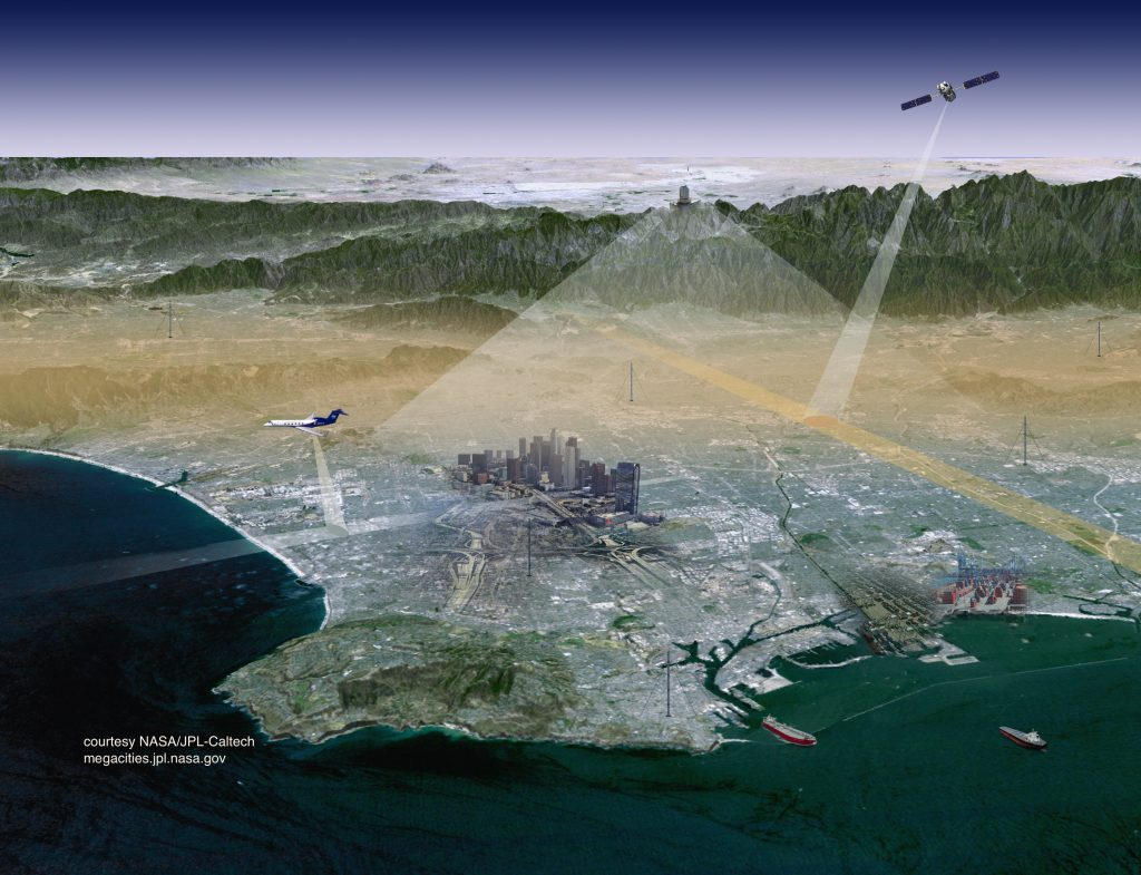 An artist's rendering of the Mt. Wilson station and satellite that comprise the Los Angeles Megacities project (Courtesy of JPL)
