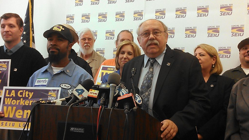 SEIU local 721 president Bob Schoonover announces support for Wendy Greuel as LA mayor
