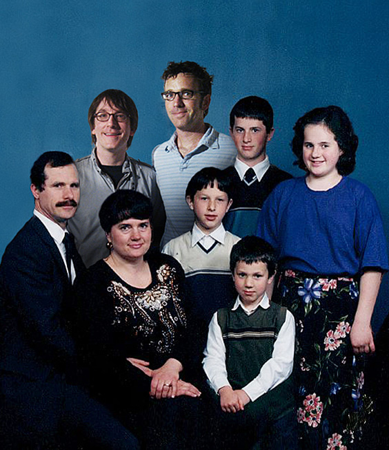 JEFF&GORDON's faux family portrait for Not at the Dinner Table -- the artists Photoshopped themselves into a family portrait at top left.