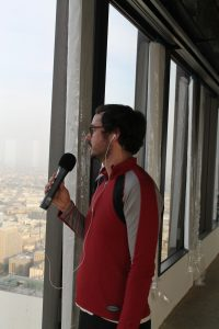 KCRW's Evan George catching his breath after the 55 floor training climb. Photo by Stan Schwarz
