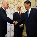 Chinese Vice President Xi Jinping is greeted by California Governor Jerry Brown as Commerce Secretary John Bryson looks on at the JW Marriott hotel before attending the 2012 US-China Economy and Trade Cooperation Forum in Los Angeles. Photo by Robert Gauthier/LA Times.