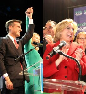 Eric Garcetti (L) and Wendy Greuel (R) celebrate after winning a place in the May mayoral election.