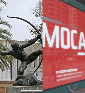 Herakles, The Archer by Bourdelle at LACMA seems to be taking aim at MOCA. Photos: (L) Ron's Log, (R) Zeetz Jones