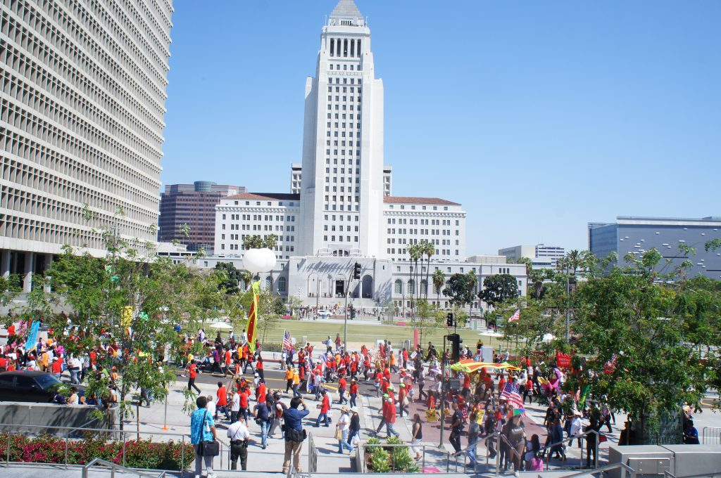 Marchers walked from Olympic and Broadway to Olvera Street. That route brought them by such Los Angeles landmarks as City Hall and the Los Angeles Times building.