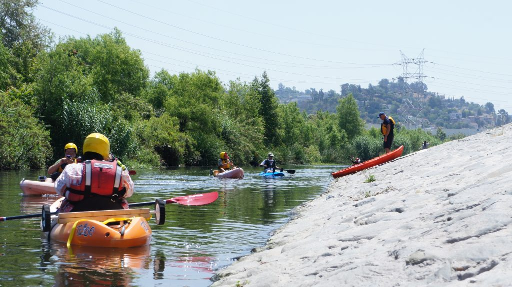 The stretch of the L.A. River open to boating features mostly placid waters with a couple of mini-rapids. People don't have to buy a permit or pay a fee to put their boats in the water. Just show up and cast off. (Photo by Saul Gonzalez)