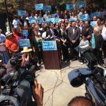Mayor-elect Eric Garcetti talks to the press the day after his election