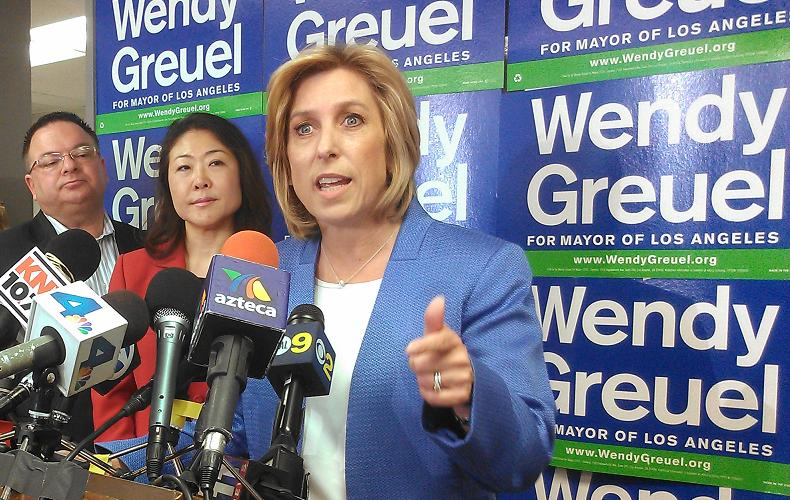 Wendy Greuel, speaking at her campaign headquarters in Van Nuys, on May 22, 2013. Photo by Avishay Artsy