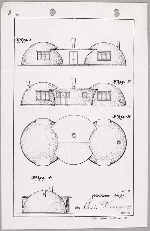 "One of Neff's patent drawings for a double-bubble house. Courtesy Huntington Library. Image from ""No Nails, No Lumber: The Bubble Houses of Wallace Neff"" by Jeffrey Head. Princeton Architectural Press."