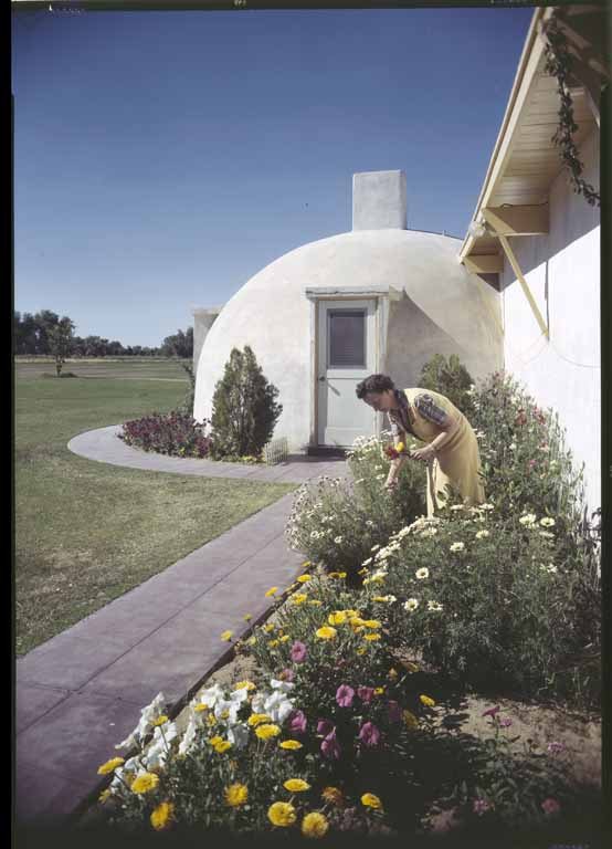 "An Airform residence with garden. (Huntington Library, Maynard Parker Collection.) Image from ""No Nails, No Lumber: The Bubble Houses of Wallace Neff"" by Jeffrey Head. Princeton Architectural Press."