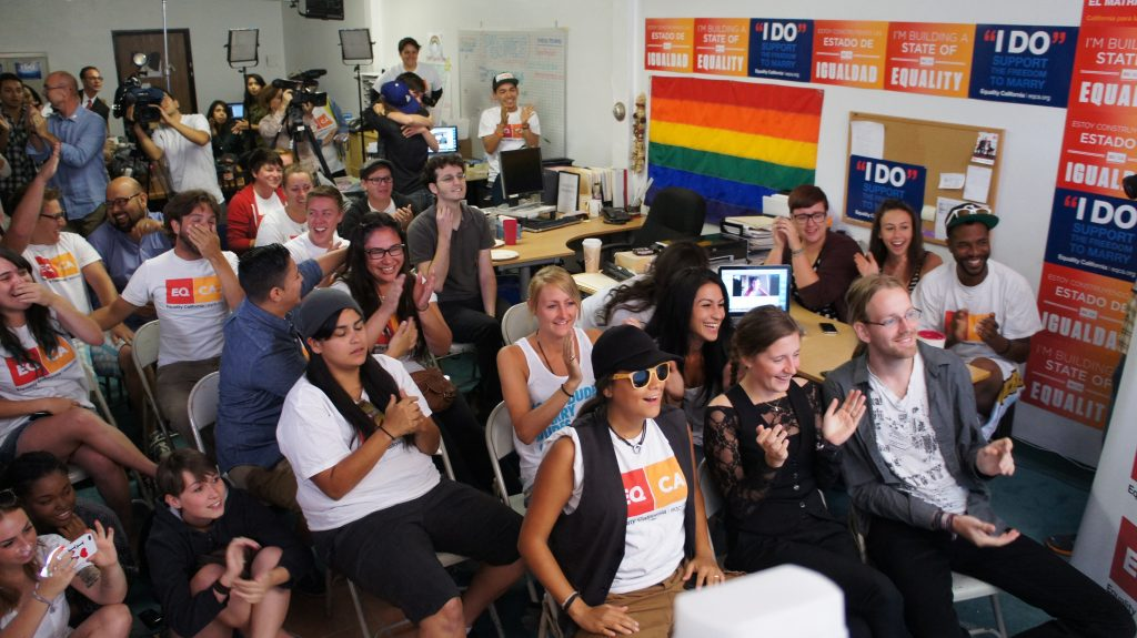 Gay marriage supporters celebrate in West Hollywood. Photo: Saul Gonzalez