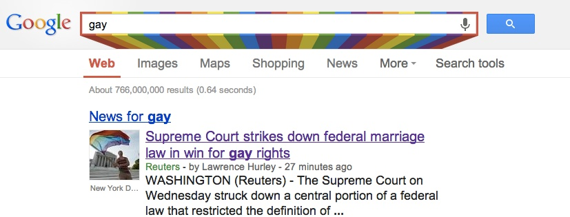 "A rainbow appears in Google, when you search for ""gay"""