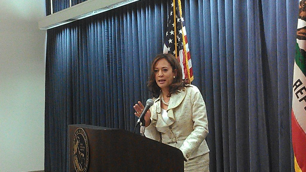 Attorney General Kamala Harris speaking about Prop. 8 and DOMA. Photo: Avishay Artsy