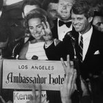 Robert F. Kennedy at the Ambassador Hotel in Los Angeles, moments before his assassination.
