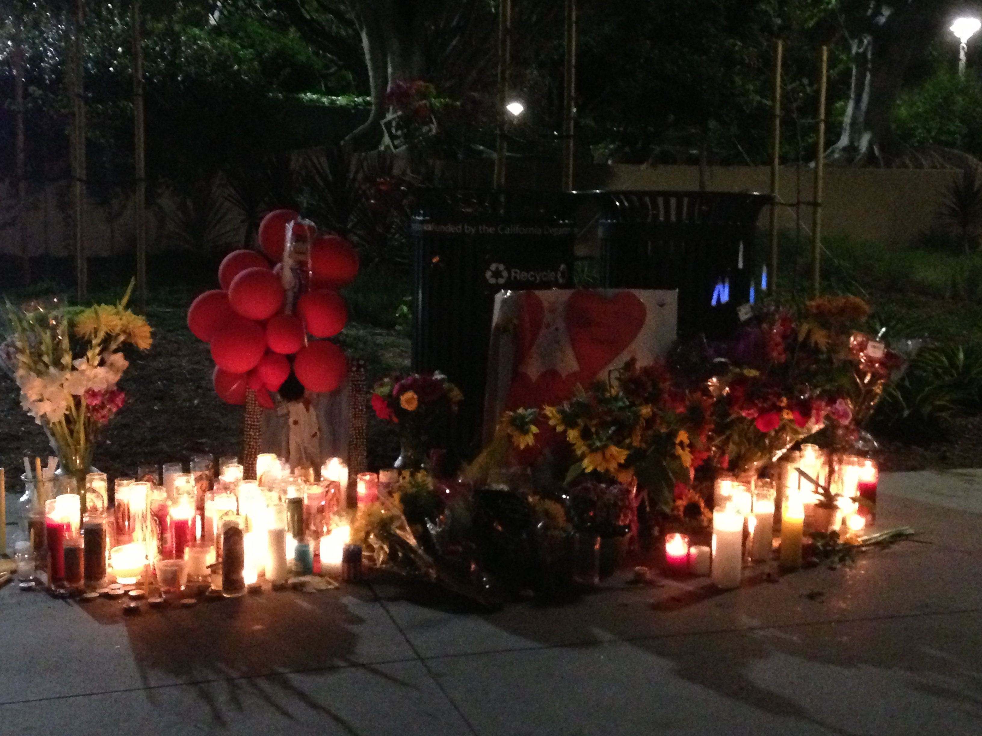 A memorial shrine at Santa Monica College, days after the June 7 shootings. Photo by Avishay Artsy.