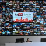 The video wall in the lobby of YouTube Space LA.