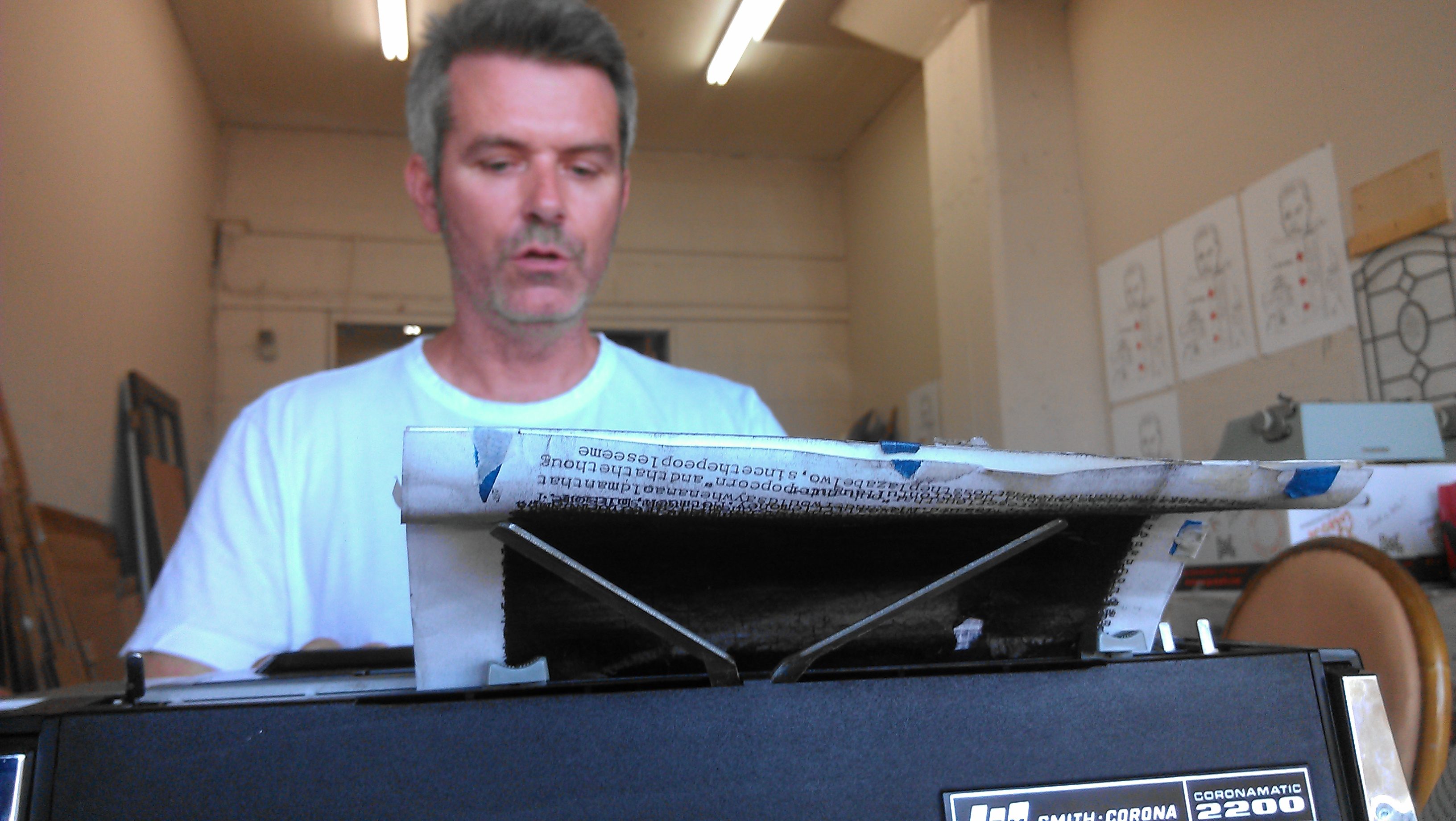 "Tim Youd types out Kurt Vonnegut's ""Jailbird"" on a Smith Corona Coronamatic 2200."