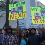 Demonstrators gathered to show their anger at the not guilty verdicts in the trial of George Zimmerman and to show their support for Trayvon Martin's family.  Photo: Saul Gonzalez