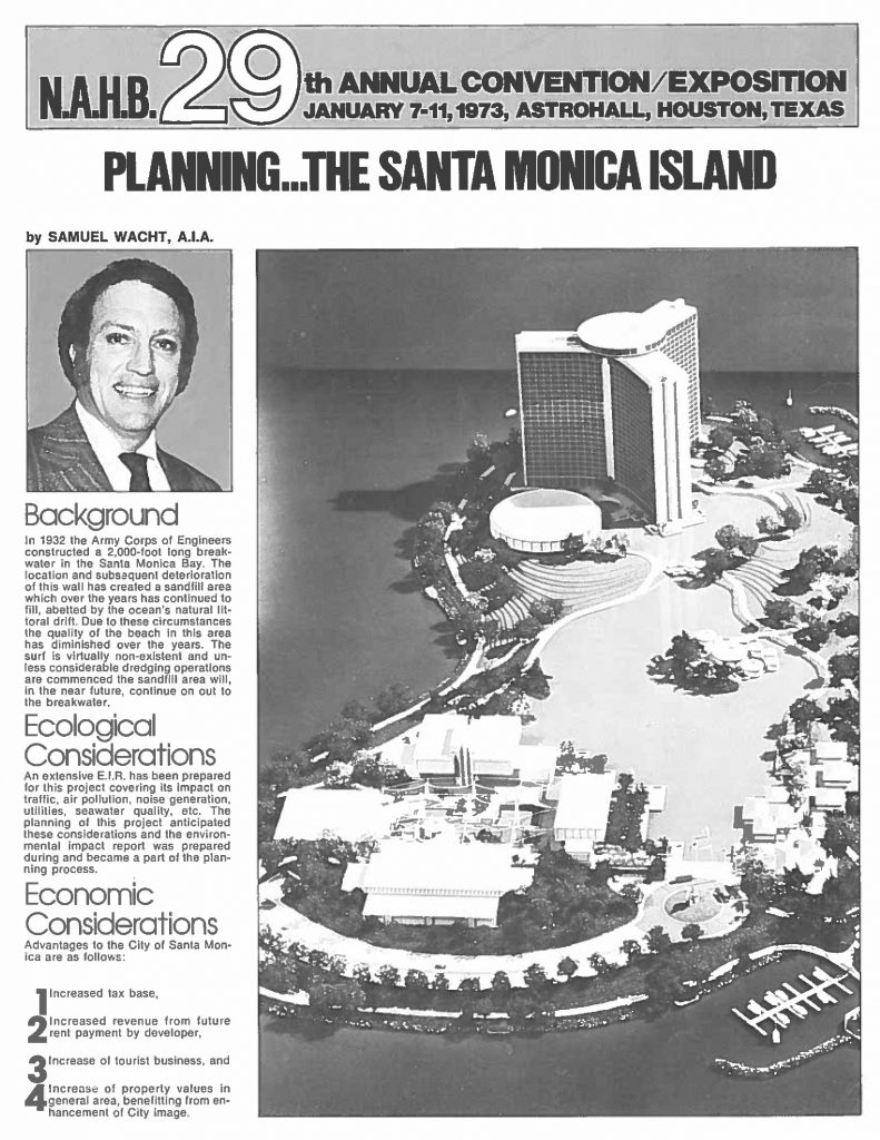 A flier promoting the Santa Monica Island plan.