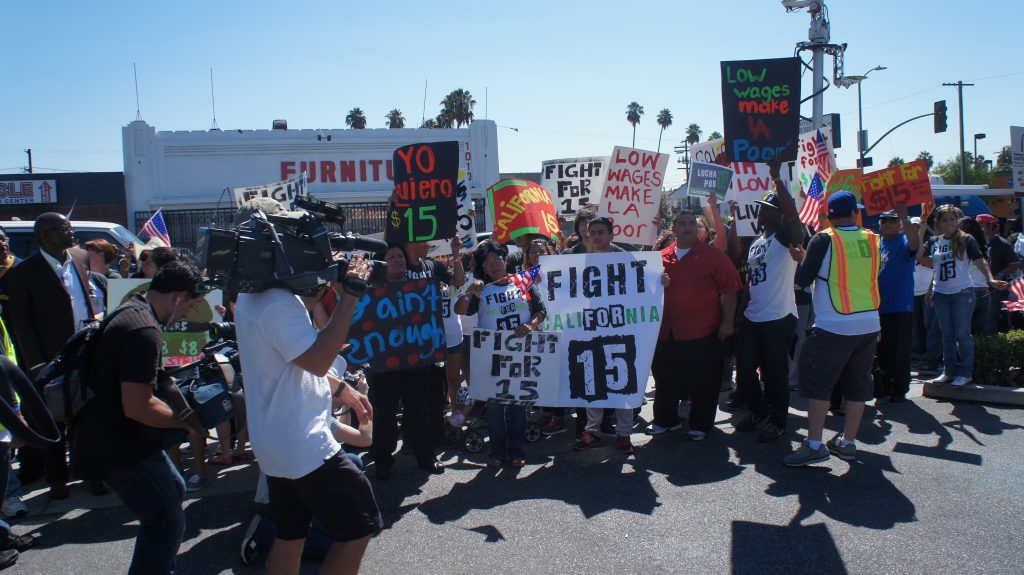 The protests held in Los Angeles today were part of a 50 city campaign to fight for a boost in fast food worker minimum wage to $15 an hour, That's $7 above California's current minimum wage, but there are higher exceptions. San Francisco has the highest minimum wage in the country at $10.55 an hour.