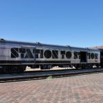 The Station to Station train at the platform in Barstow.(Photo: Carolina Miranda)