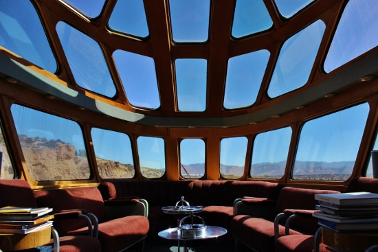 "The train's last car was called the ""Cedar Rapids"" and it dates to 1948. It offered spectacular views of the Mojave from its web of windows. (Photo: Carolina Miranda)"