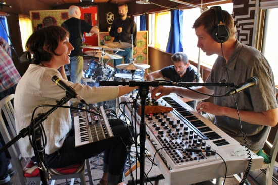 L.A.-based experimental band Lucky Dragons craft a new composition in the train's recording car. (Photo: Carolina Miranda)