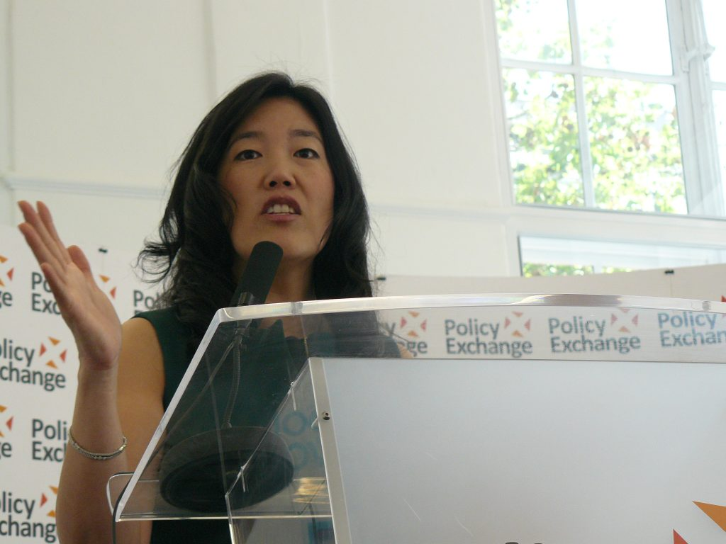 Michelle Rhee delivering a speech at Policy Exchange