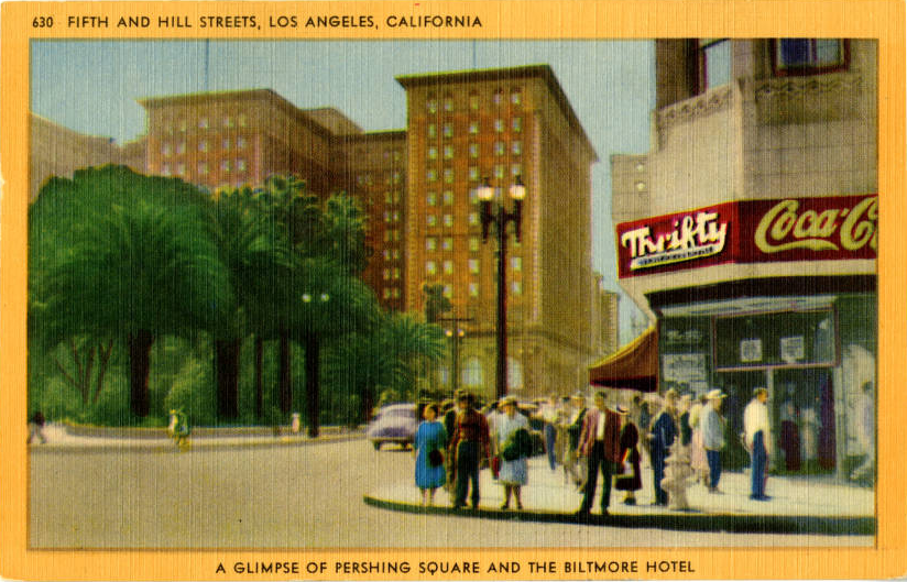 Fifth and Hill Thrifty color pc c 1940