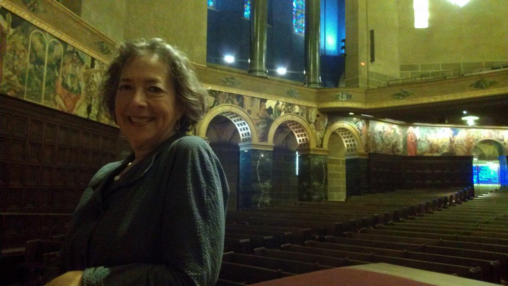 Architect Brenda Levin in the sanctuary of the Wilshire Boulevard Temple. Photo by Avishay Artsy.