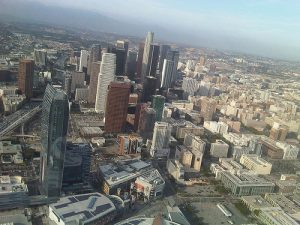 Helicopter's view of Downtown LA  by feculent_fugue/ Flickr/ Creative Commons