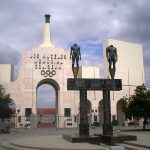The entrance to the LA Memorial Coliseum