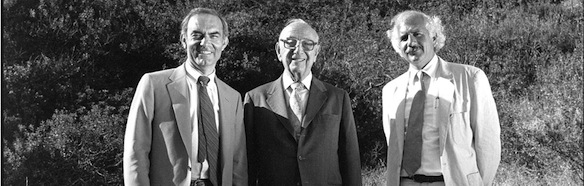From left: Uri Herscher, Jack Skirball and Moshe Safdie stand on the future site of the Skirball Cultural Center in summer 1985. Photo by Bill Aron.
