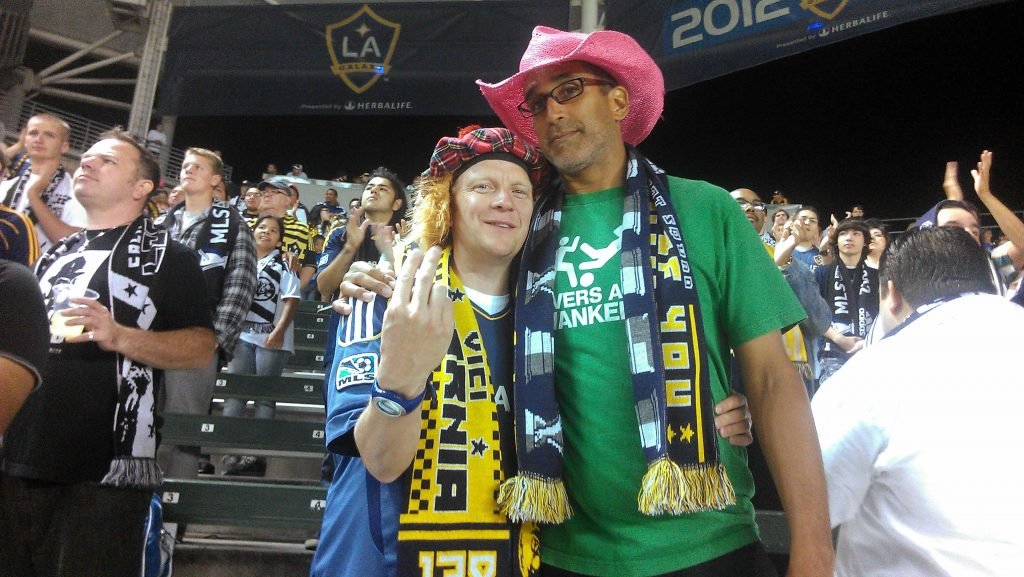 Members of the LA Riot Squad, a supporter group of the LA Galaxy. (Photo: Avishay Artsy)