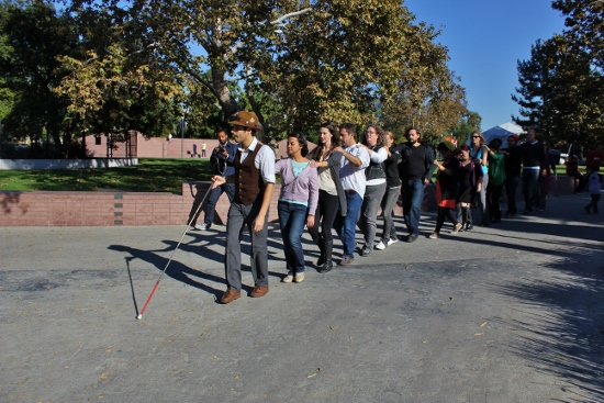 The group wound around the tar pits then entered the area behind the L.A. County Museum.
