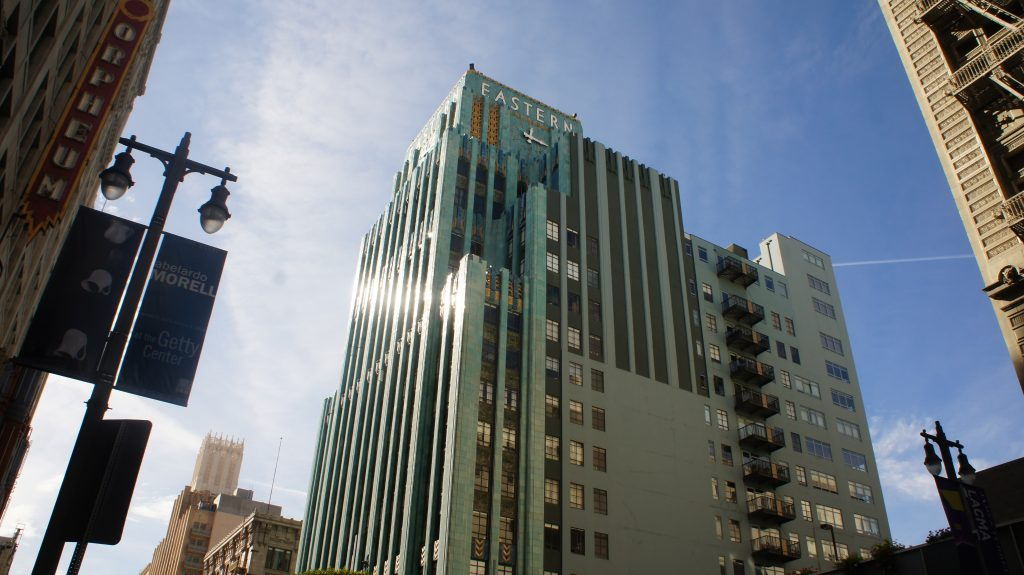 The turquoise colored Eastern Columbia building at 849 South Broadway is considered one of L.A.'s best examples of Art Deco architecture. Built in 1930, it was the corporate offices for the Eastern Outfitting Company and the Columbia Outfitting Company. It's now a swanky residential tower with a high-end Swedish clothing store soon to open on the ground floor. (Photo: Saul Gonzalez)