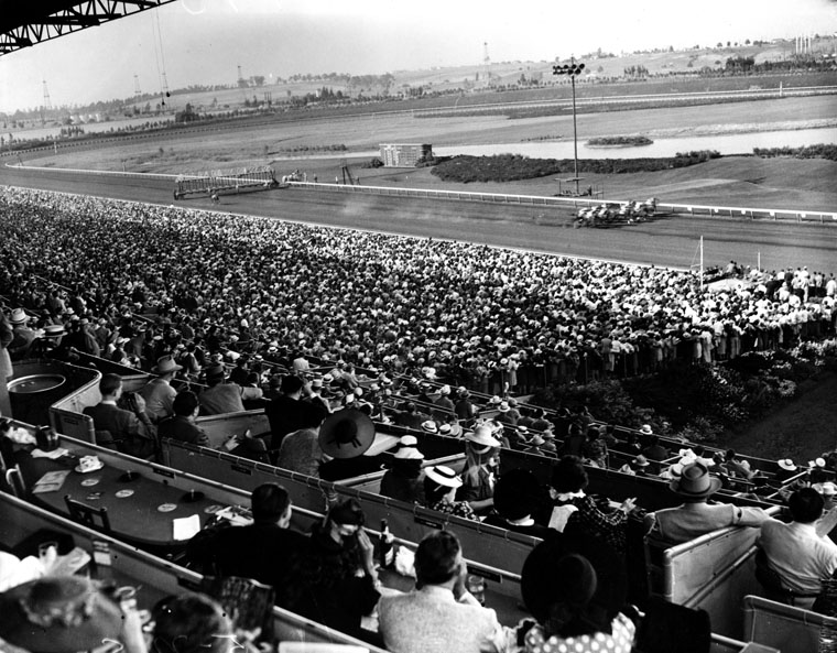 Full stands at Hollywood Park (Photo: Courtesy Los Angeles Public Library)