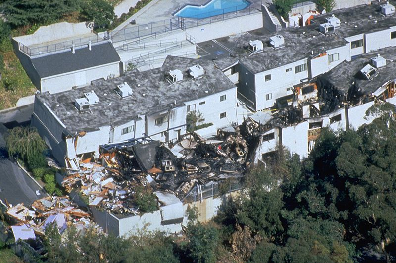 Northridge Earthquake, CA, January 17, 1994 -- An aerial view of destruction caused by the 6.7 magnitude earthquake. Damage costs were estimated at $25 billion. FEMA News Photo Date17 January 1994