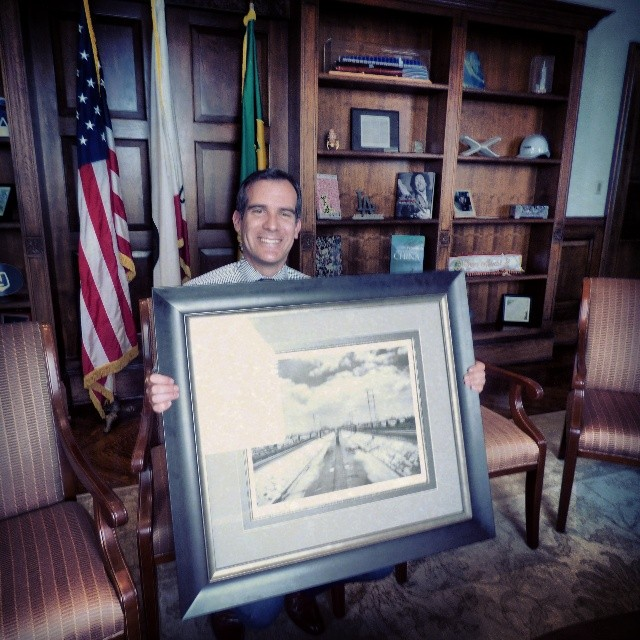 Meza donated this photograph of the Sixth Street bridge, which is in the new book, to City Hall