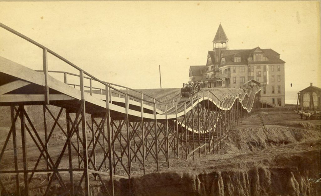 Roller Coaster at the Arcadia Hotel, Santa Monica, late 1880s. Albumen print by E.G. Morrison. Ernest Marquez Collection, The Huntington Library, Art Collections, and Botanical Gardens.