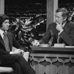 Comedian David Steinberg, left, with The Tonight Show host Johnny Carson