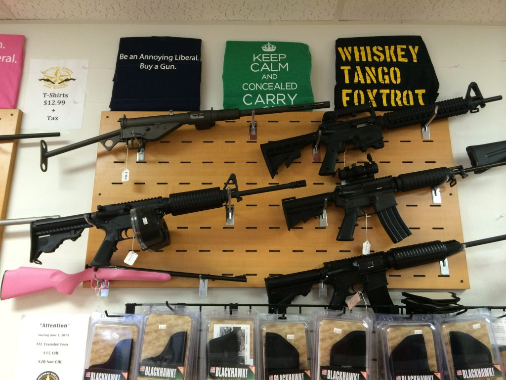 You can buy guns, t-shirts, and other accessories at Central Texas Gunworks using bitcoin