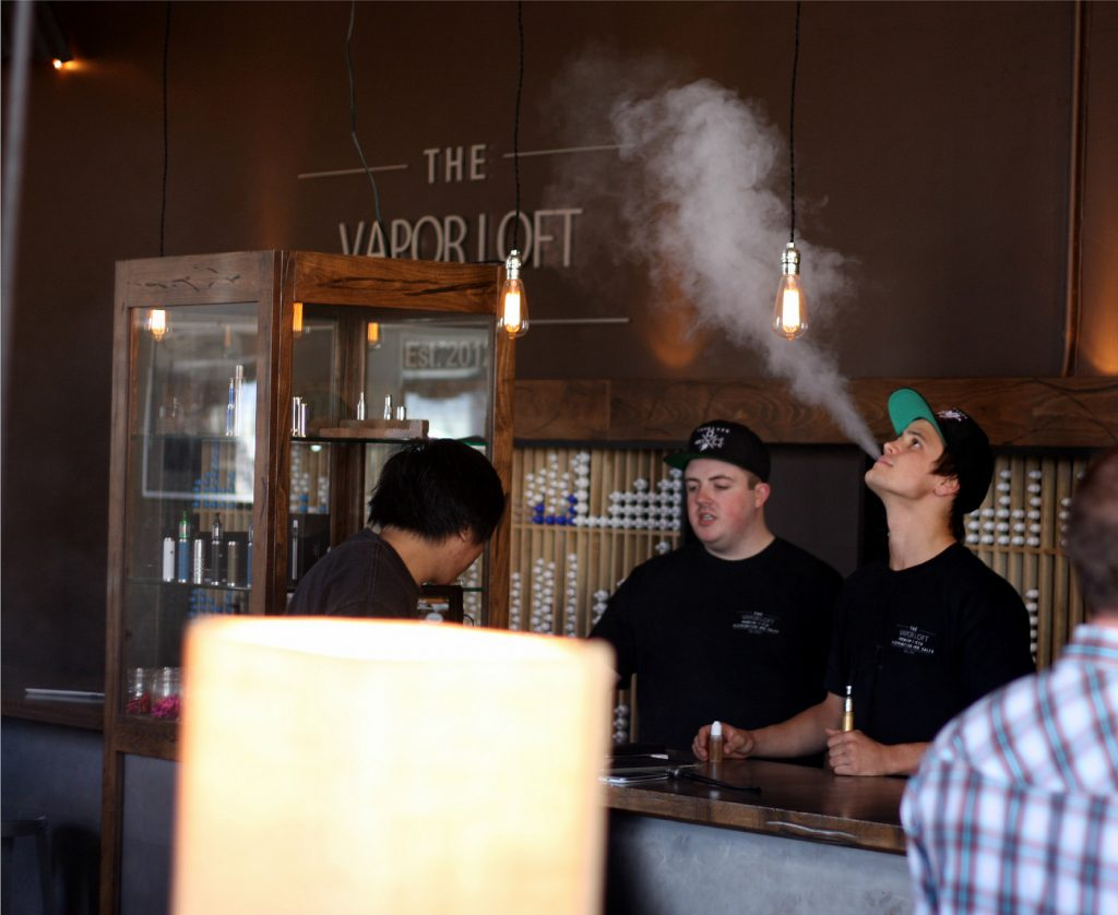 Vaping at the Vapor Lodge in Orange, CA. Photo by Lindsay Fox via Flickr/CC.