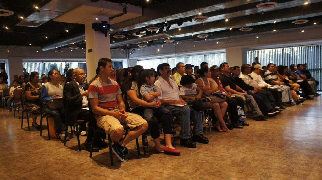 As part of outreach efforts to inform people about the drivers license law, the DMV will hold participate in a variety of community meetings and town halls on the topic. This one we attended was held at Mexico's consulate in Los Angeles. The room was packed and people had lots of questions about the implementation of AB 60. (Photo: Saul Gonzalez)