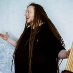 Jaron Lanier with his khene outside the KCRW studio.