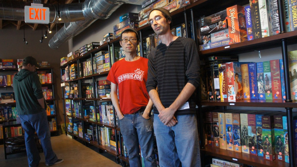 Terry Chiu and Robert Cron founded the Gamehaüs Café as their informal group of board game player friends grew. Putting in both their own money and funds raised through a Kickstarter campaign, they sought to create a place where there were both lots of games and room to play them.  (Photo: Saul Gonzalez)