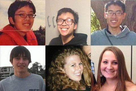 Isla Vista murder victims. Top row from left to right: Weihan Wang, George Chen, Cheng Yuan Hong. Bottom row from left to right: Christopher Martinez, Katie Cooper, Veronika Weiss