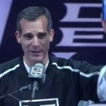 LA Mayor Eric Garcetti at the LA Kings rally at the Staples Center on Monday, June 16.