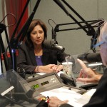 Hilda Solis talks to Warren Olney at KCRW. (Photo: Benjamin Gottlieb)