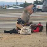 Screenshot of a CHP officer beating Marleen Pinnock on the 10 Freeway last week.